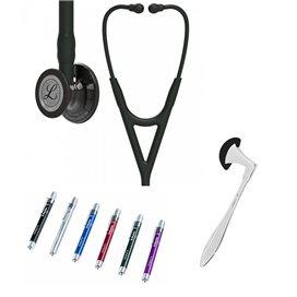 Littmann Cardiology IV Studentbox borststuk met hoogglanzende rookkleurige afwerking, zwarte slang, zwarte steel en zwarte heads