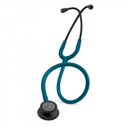 Littmann Classic III Stethoscope, Black-Finish Chestpiece, stem and headset, Caribbean Blue Tube, 5869