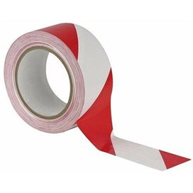 Vloermarkering Tape Rood/Wit 33 mtr. x 50 mm -