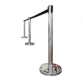 Barrier post 90cm with roll-out ribbon 2m