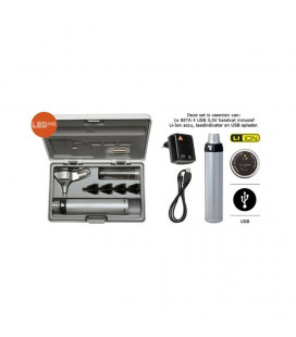 BETA200 F.O. Set otoscopio con impugnatura USB ricaricabile