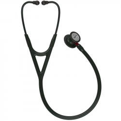 Littmann Cardiology IV Stethoscope 6200, Black Edition, Black Tube, Red Stem